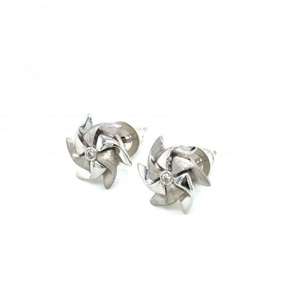 HK407~Windmill Shaped Sterling Silver Earrings with Diamond