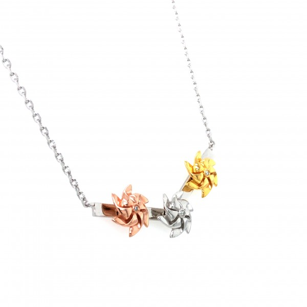 HK408~Three Windmill Shaped Sterling Silver Necklace with Diamond