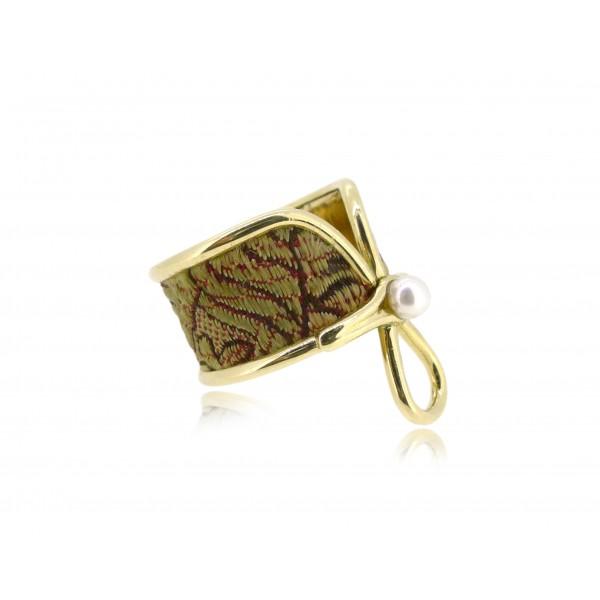 HK144~ [Jīng Yún Jǐn Xiù] 10K Gold Red Cheongsam Ring