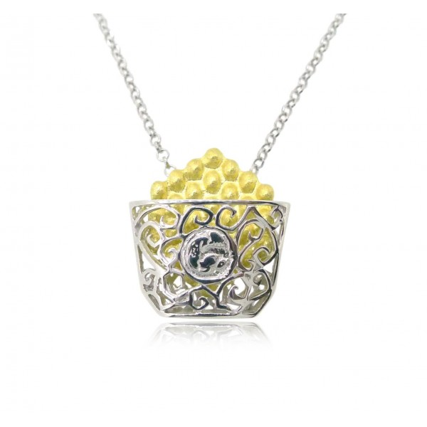 "HK005~ 925 Silver Hong Kong Style Waffle (15mm) with 18"" Silver Necklace"
