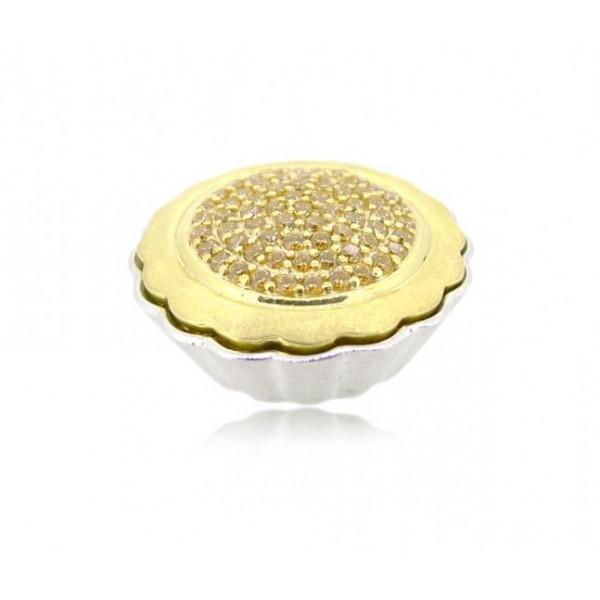 "HK010~ 925 Silver Egg Tart pendant (25MM) with Swarovski & 20"" Silver Necklace"