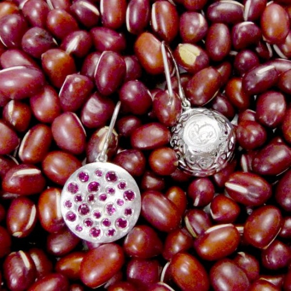 HK013~ 925 Silver Chinese Pudding Earrings(15mm)