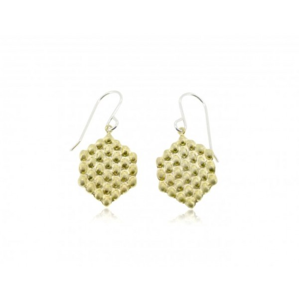 HK016~ 925 Silver Hong Kong Style Waffle Earrings(15mm)