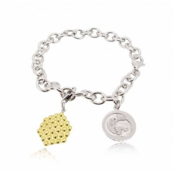 """HK022~ 925 Silver Hong Kong Style Waffle(15mm) with 7.5"""" Silver Bracelet"""