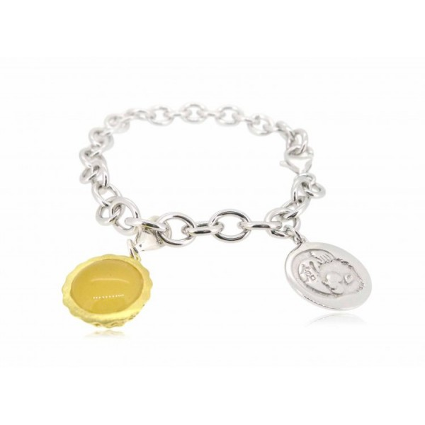 """HK029~ 925 Silver Egg Tart Charm(15mm) with Rice Yellow Jade with 7.5"""" Silver Bracelet"""