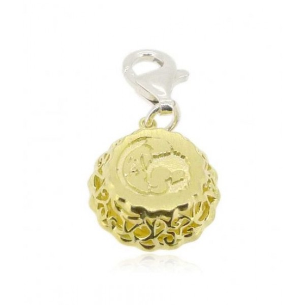 HK030~ 925 Silver Egg Tart Charm(15mm) with Rice Yellow Jade