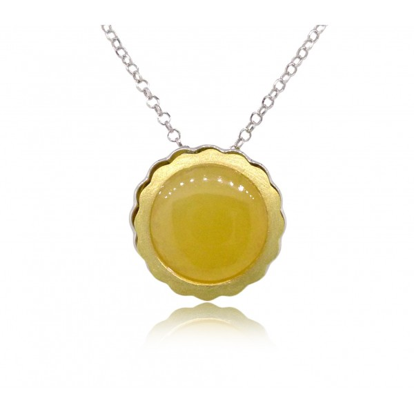 HK032~ 925 Silver Egg Tart Pendant (20mm) with Rice Yellow Jade