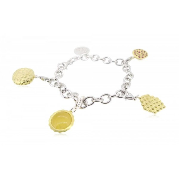 """HK033~ 925 Silver Hong Kong Street Snack Charms(x4) with 7.5"""" Silver Bracelet"""