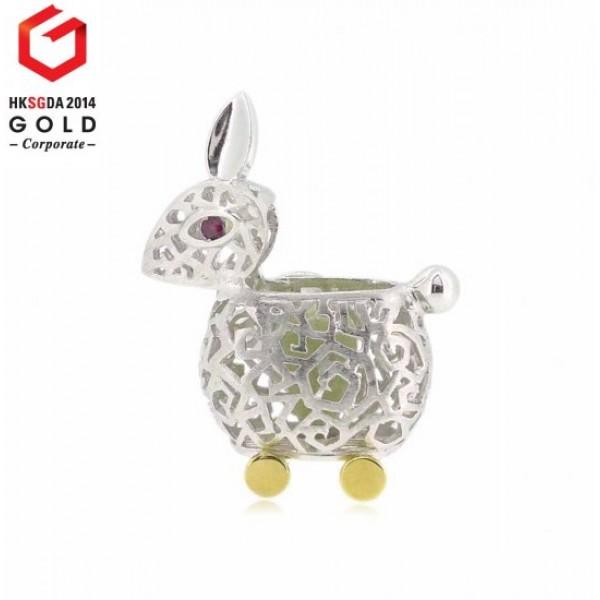 HK037~ 925 Silver Rabbit Lantern Brooch