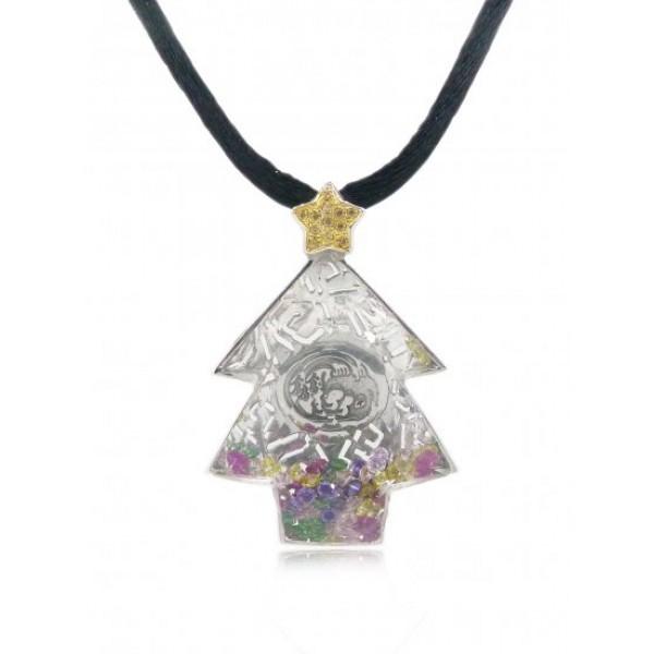 "HK042~ 925 Silver Chrismas Tree Crystal Pendant with 18""Black Silk Cord"