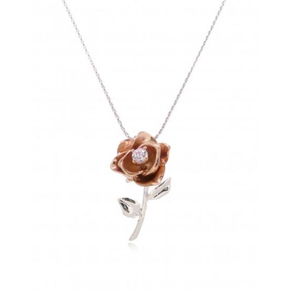"HK044~ 925 Silver Rose Pendant with 18"" Silver Necklace"