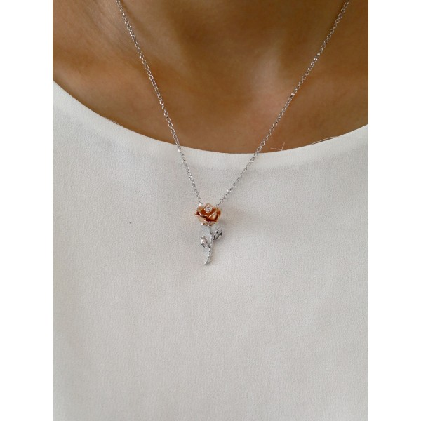 """HK044~ 925 Silver Rose Pendant with 18"""" Silver Necklace"""