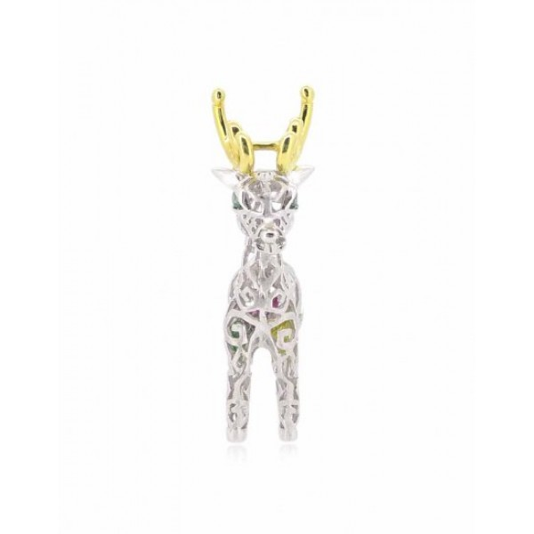 """HK052~ 925 Silver Christmas Deer Pendant (BIG) with 24"""" Silver Necklace"""