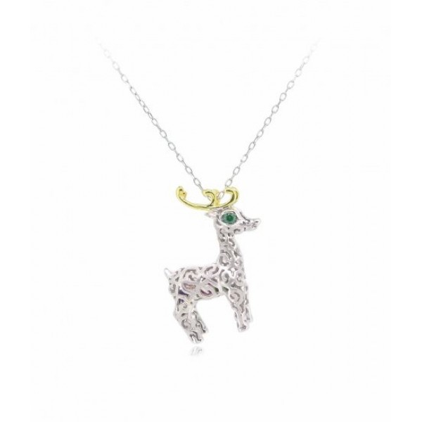 """HK053~ 925 Silver Christmas Deer Pendant (small) with 18"""" Silver Necklace"""