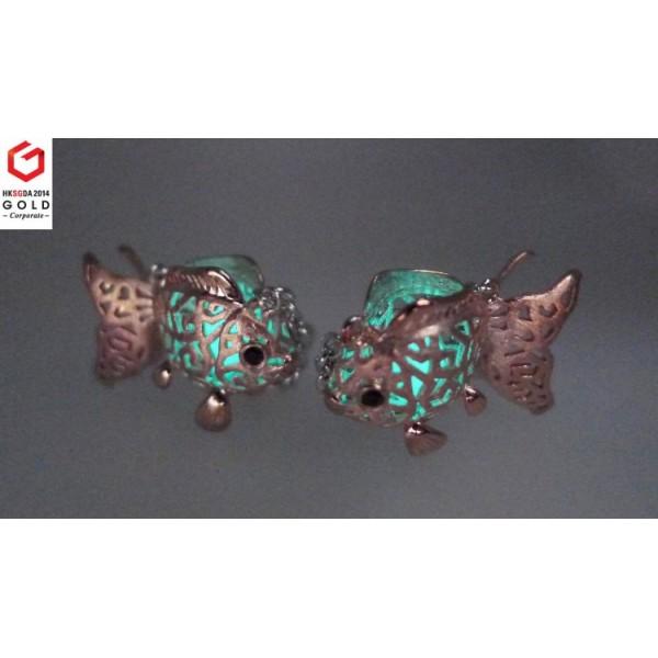 HK059~ 925 Silver Goldfish Lantern Earrings