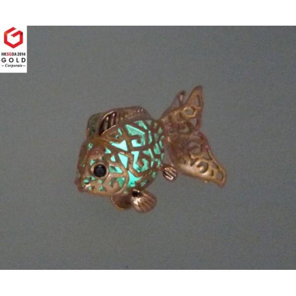 HK060~ 925 Silver Goldfish Lantern Brooch