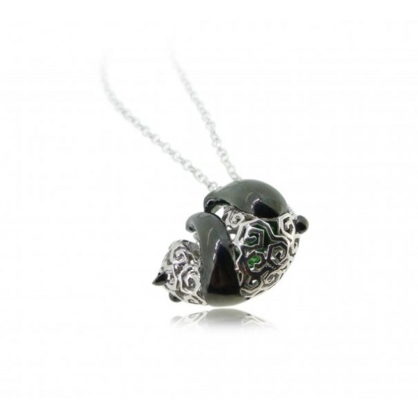 "925 Silver Panda Pendant with 18"" Silver Necklace"