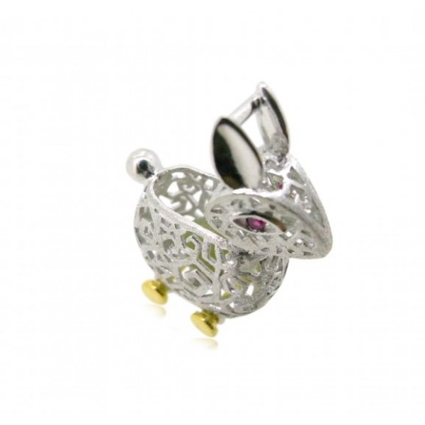 "HK077~ 925 Silver Rabbit Shaped Lantern Pendant with 18"" Silver Necklace"