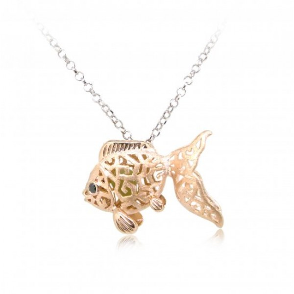 "HK078~ 925 Silver Goldfish Shaped Lantern Pendant with 18"" Silver Necklace"