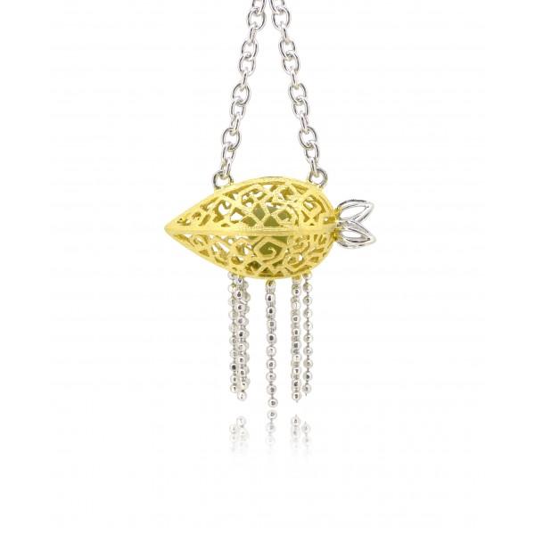 "HK083~ 925 Silver Starfruit Lantern Pendant w/ 18"" Necklace"