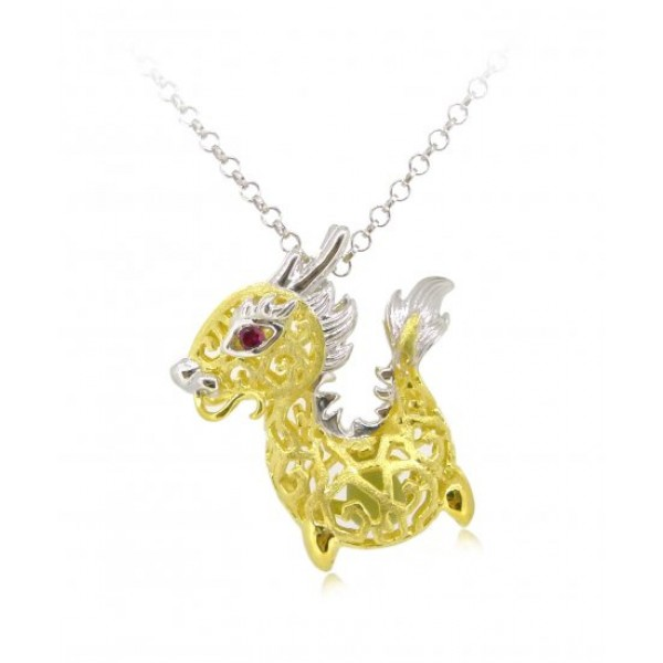 """HK088-s1~ 925 Silver Dragon Shaped Lantern Pendant with 18"""" Silver Necklace"""
