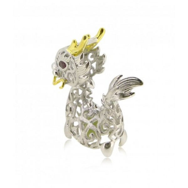 """HK088~ 925 Silver Dragon Shaped Lantern Pendant with 18"""" Silver Necklace"""