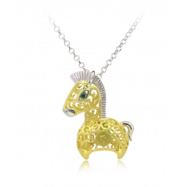 "HK090-s1~ 925 Silver Horse Shaped Lantern Pendant with 18"" Silver Necklace"