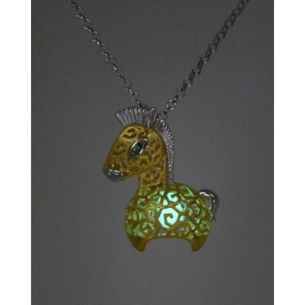 """HK090-s1~ 925 Silver Horse Shaped Lantern Pendant with 18"""" Silver Necklace"""
