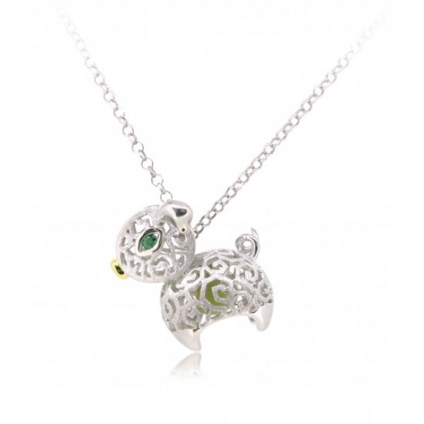 "HK095~ 925 Silver Pig Shaped Lantern Pendant with 18"" Silver Necklace"