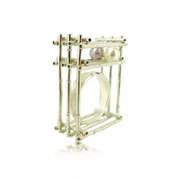 HK120~ 925 Silver Bamboo Scaffolding Pearl Ring