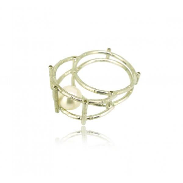 HK122~ 925 Silver Bamboo Scaffolding Pearl Ring/Pendant
