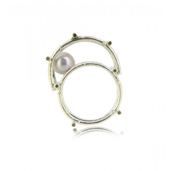 HK122-P~ 925 Silver Bamboo Scaffolding Colour Pearl Ring/Pendant