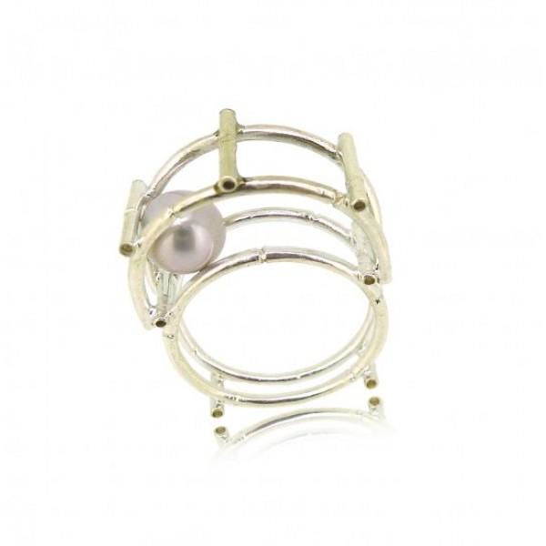 HK122-P~ 925 Silver Bamboo Scaffolding Colour Pearl Ring/Pendant