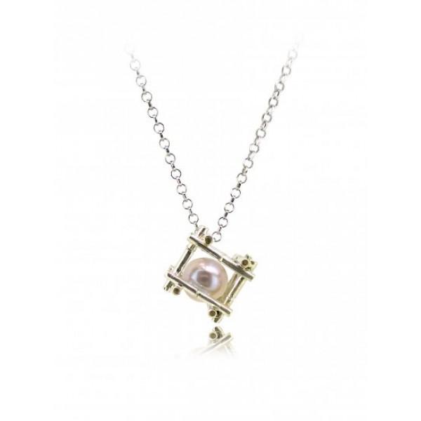 "HK125-P~ 925 Silver Bamboo Scaffolding Colour Pearl Pendant w/ 18"" Necklace"