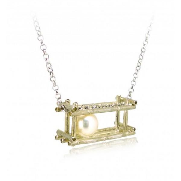 "HK126~ 925 Silver Bamboo Scaffolding Pearl Pendant w/ 18"" Necklace"