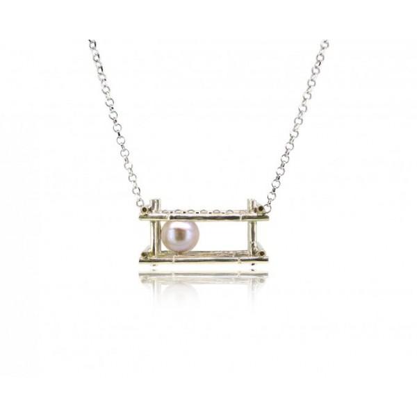 "HK126-P~ 925 Silver Bamboo Scaffolding Colour Pearl Pendant w/ 18"" Necklace"