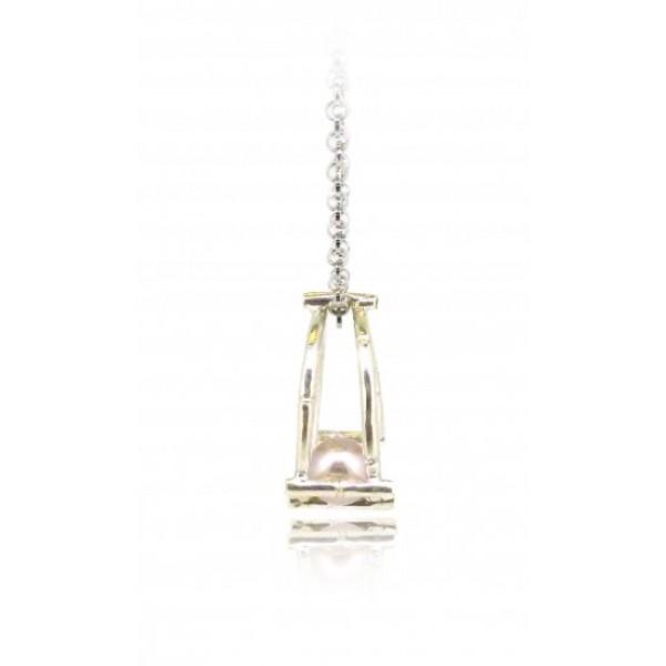 "HK127-P~ 925 Silver Bamboo Scaffolding Colour Pearl Pendant w/ 18"" Necklace"