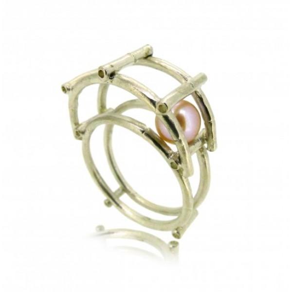 HK141-P~ 925 Silver Bamboo Scaffolding Colour Pearl Ring/Pendant