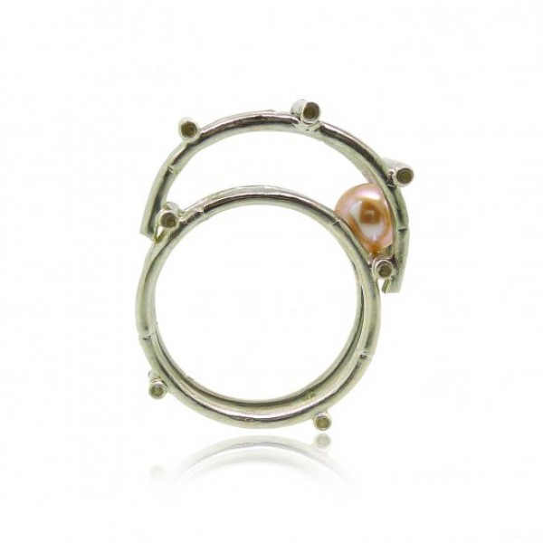 HK141-P~ 925 Silver Bamboo Scaffolding Colour Pearl Ring/Pendant