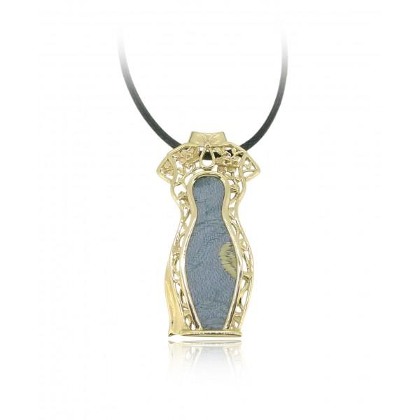 HK143~ [Jīng Yún Jǐn Xiù] 10K Gold Blue Cheongsam Pendant