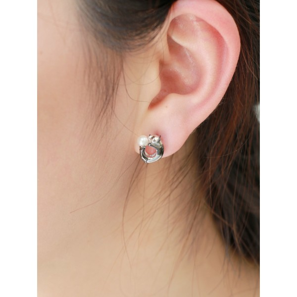 HK188~ Panda Shaped Silver Earring With Akoya Pearl