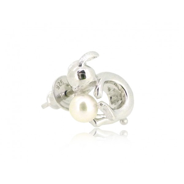 HK190~ Rabbit Shaped Silver Earring With Akoya Pearl