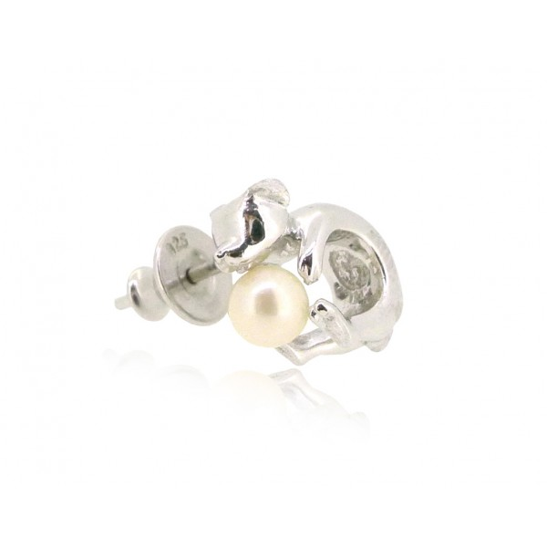 HK191~ Dog Shaped Silver Earring With Akoya Pearl