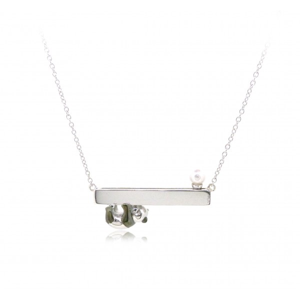 HK235~ Panda Shaped Silver Necklace With Akoya Pearl