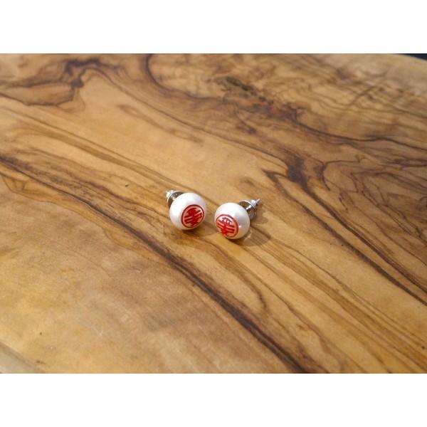 HK242~ 平安 Peaceful 925 Silver Earrings with Bun Shaped Pearl