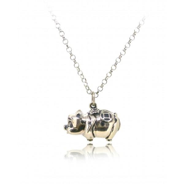 HK245~ 925 Sterling Silver Piggy Bank Shaped Pendant
