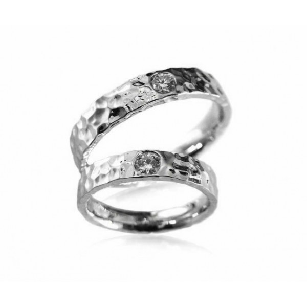 OD002~ 18K White Gold Diamond Wedding Rings