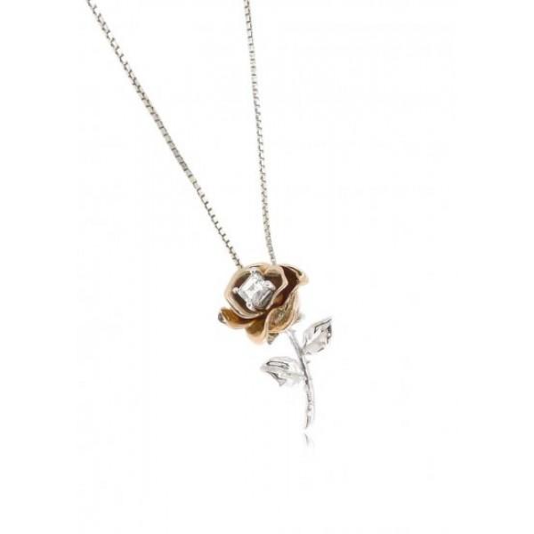OD019~ 18K Rose/White Gold Square shape Diamond Rose Pendant