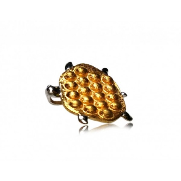 """OD037~ 925 Silver Tortoise@Hong Kong Style Waffle Pendant (14mm) w/ 16"""" Necklace"""