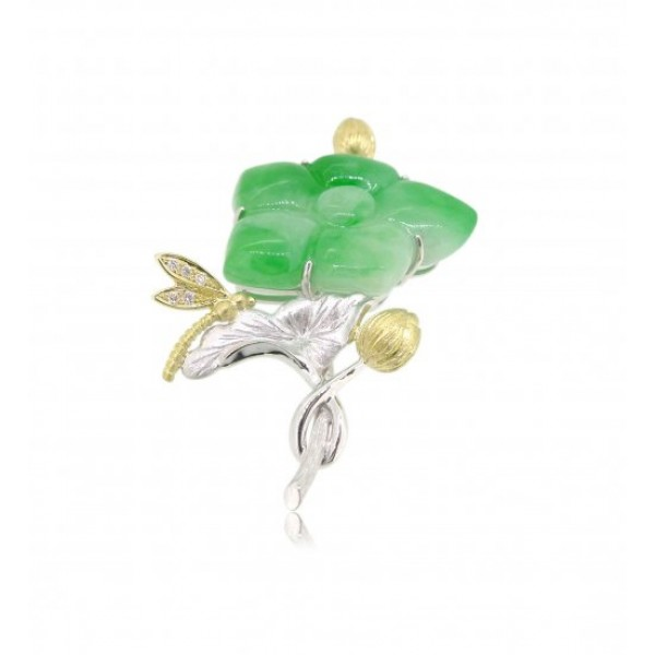 OD038~ 18K Yellow and White Gold Pendant with Diamonds & Jade